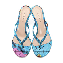 Load image into Gallery viewer, LETRONNE BLUE HEEL SANDALS