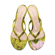 Load image into Gallery viewer, HEVELIUS LIME HEEL SANDALS