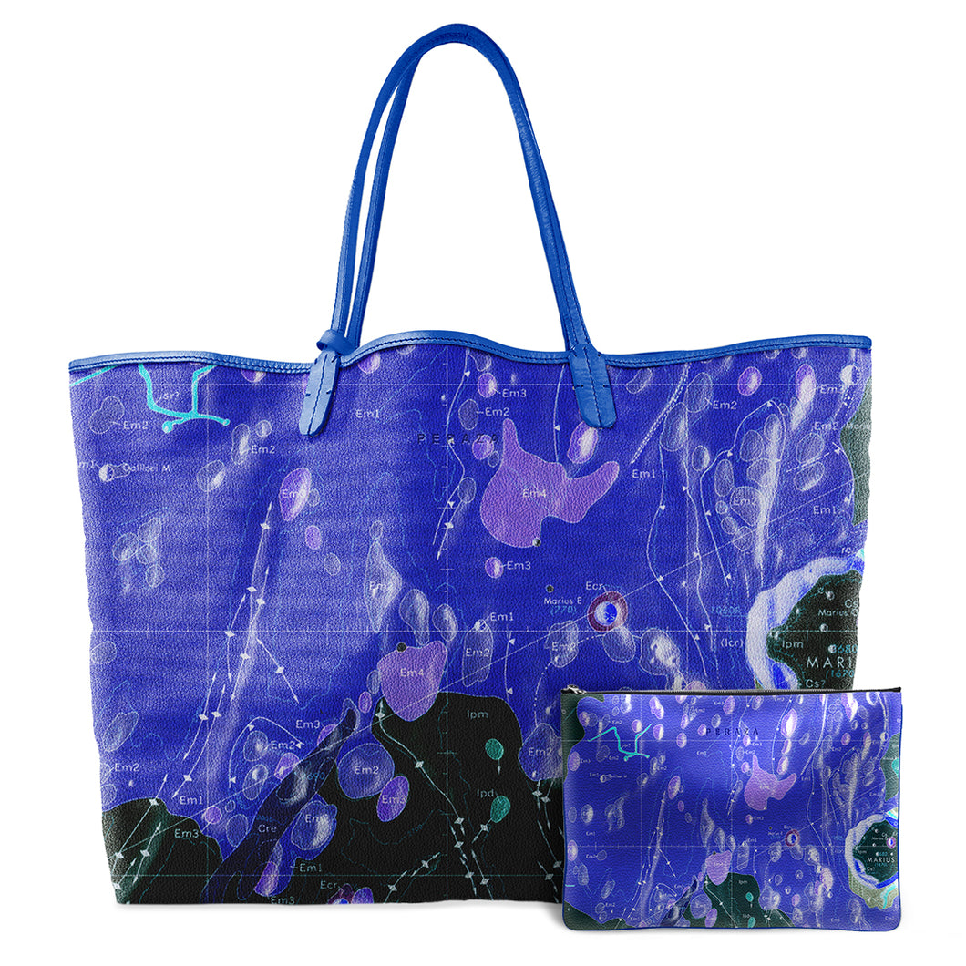 INVERTED HEVELIUS BLUE LEATHER TOTE
