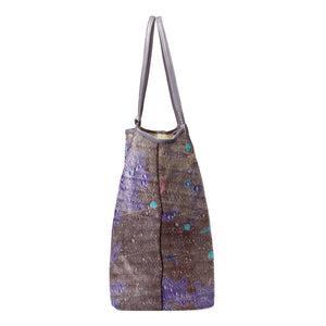 INVERTED OPPOLZER PURPLE LEATHER TOTE