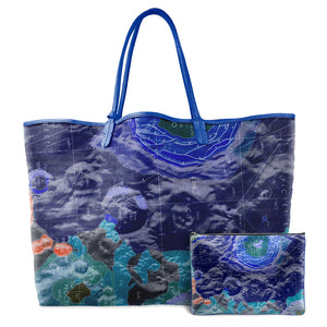 INVERTED TYCHO BLUE LEATHER TOTE
