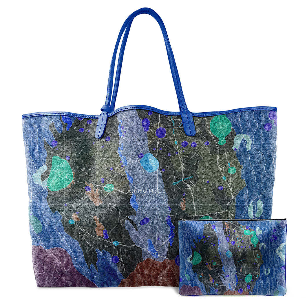 INVERTED ALPHONSUS COBALT LEATHER TOTE