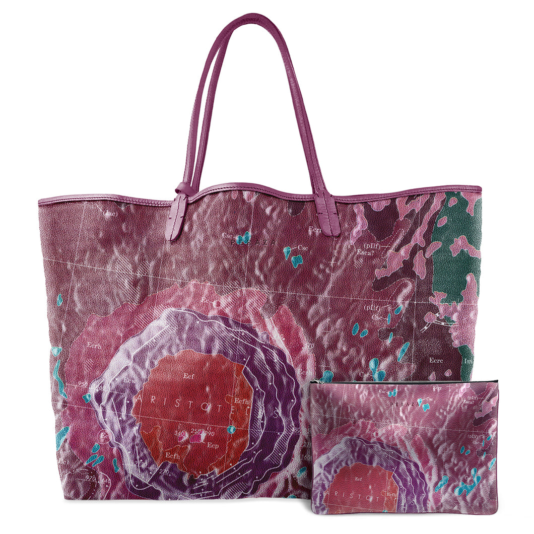 INVERTED ARISTOTELES VIOLET LEATHER TOTE