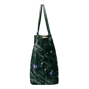 INVERTED ARISTARCHUS GREEN LEATHER TOTE