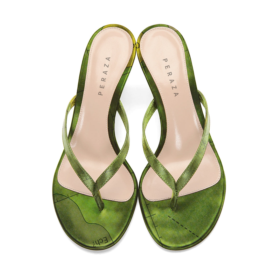 FRA MAURO GREEN HEEL SANDALS