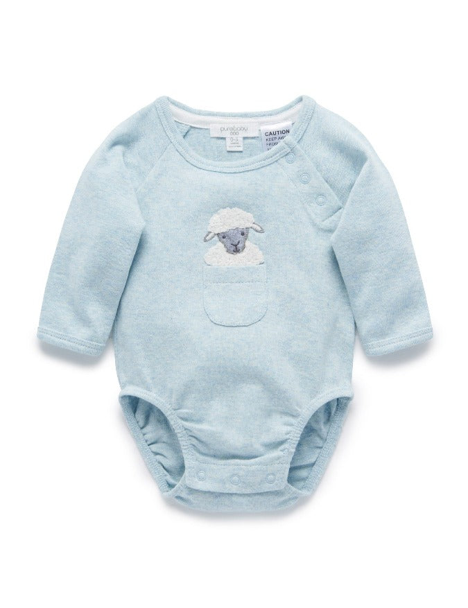 Purebaby Sheep Peekaboo Bodysuit