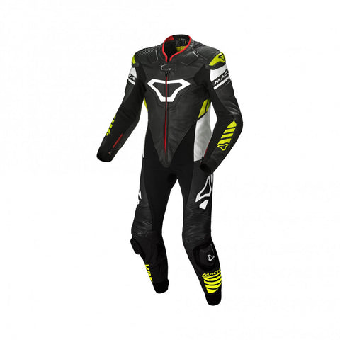 Macna Tracktix Black/White/Fluo Yellow One Piece Suit
