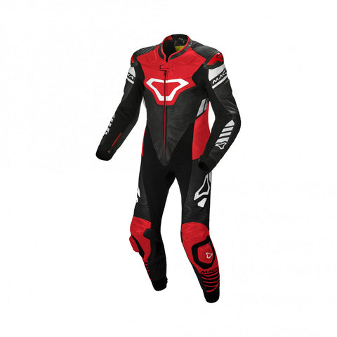 Macna Tracktix Black/Red/White Yellow One Piece Suit