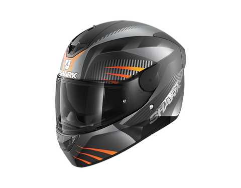 Shark D-Skwal 2 Mercurium Mat Black Anthracite Orange Helmet (KAO)