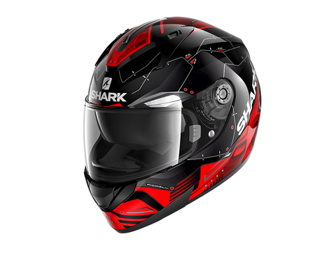 Shark Ridill Mecca Black Red Silver Helmet (KRS)