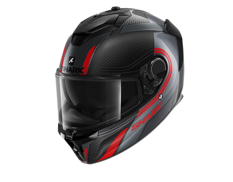 Shark Spartan GT Carbon Tracker Anthracite Red Helmet (DAR)