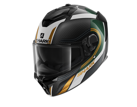 Shark Spartan GT Carbon Tracker Green Gold Helmet (DGQ)