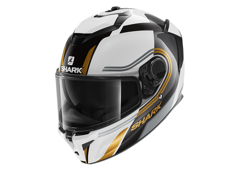 Shark Spartan GT Tracker White Black Gold Helmet (WKQ)