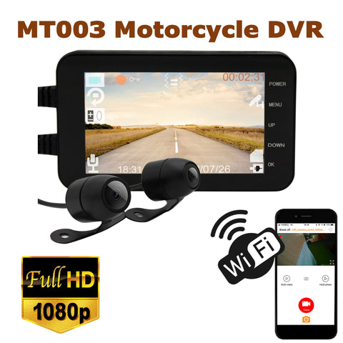 MT003 4.0 inch WIFI LCD Motorcycle DVR Camera Recorder- Black