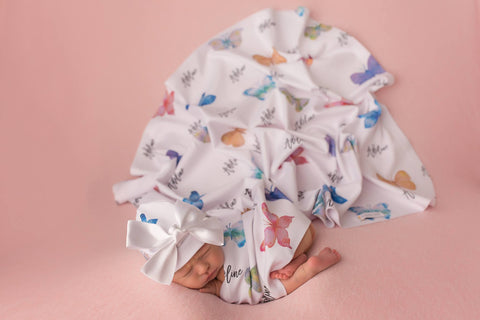 butterfly personalized baby blanket
