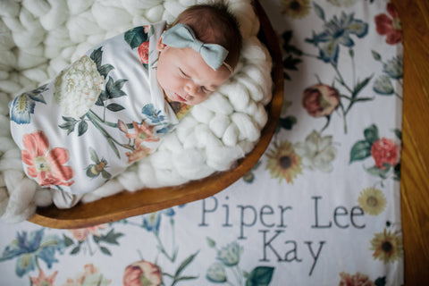 Michelle Botanical personalized floral baby blanket
