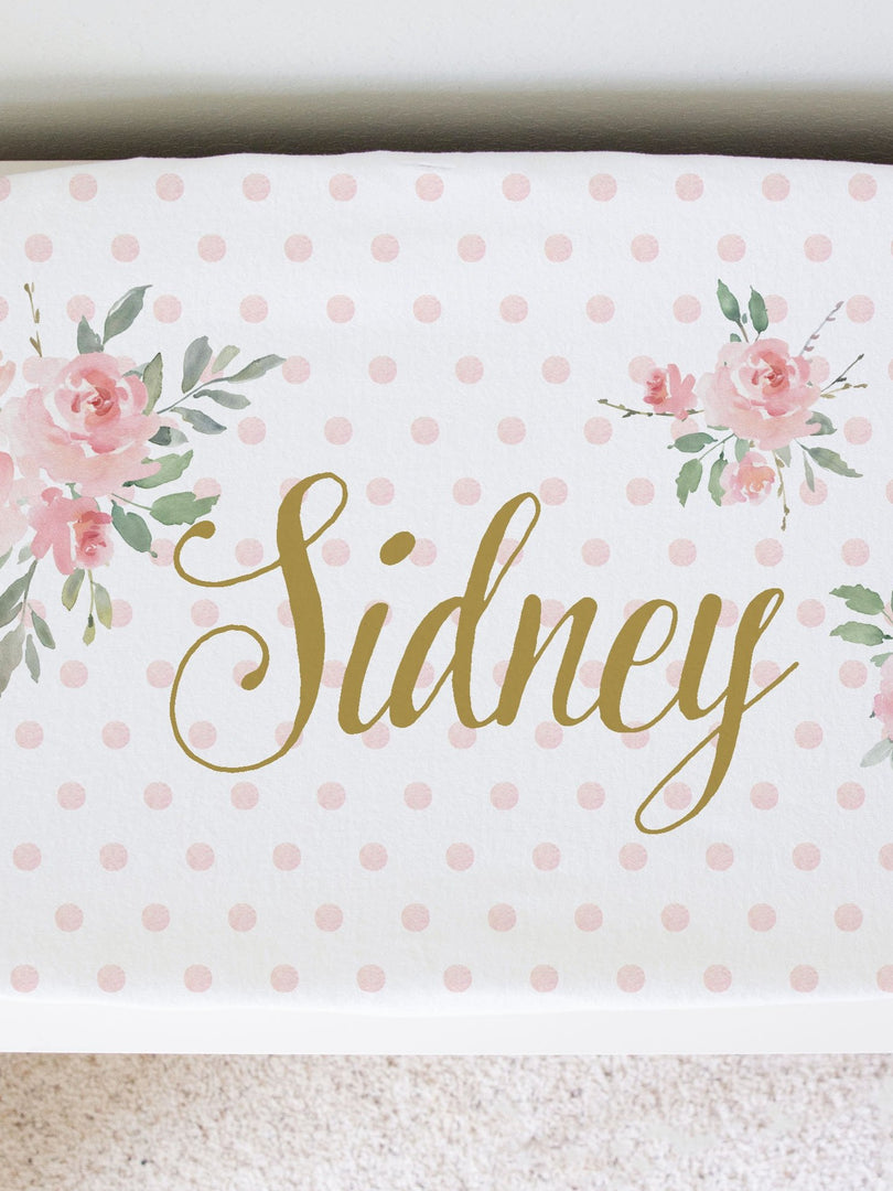 Personalized Changing Pad CoverFloral Baby Girl