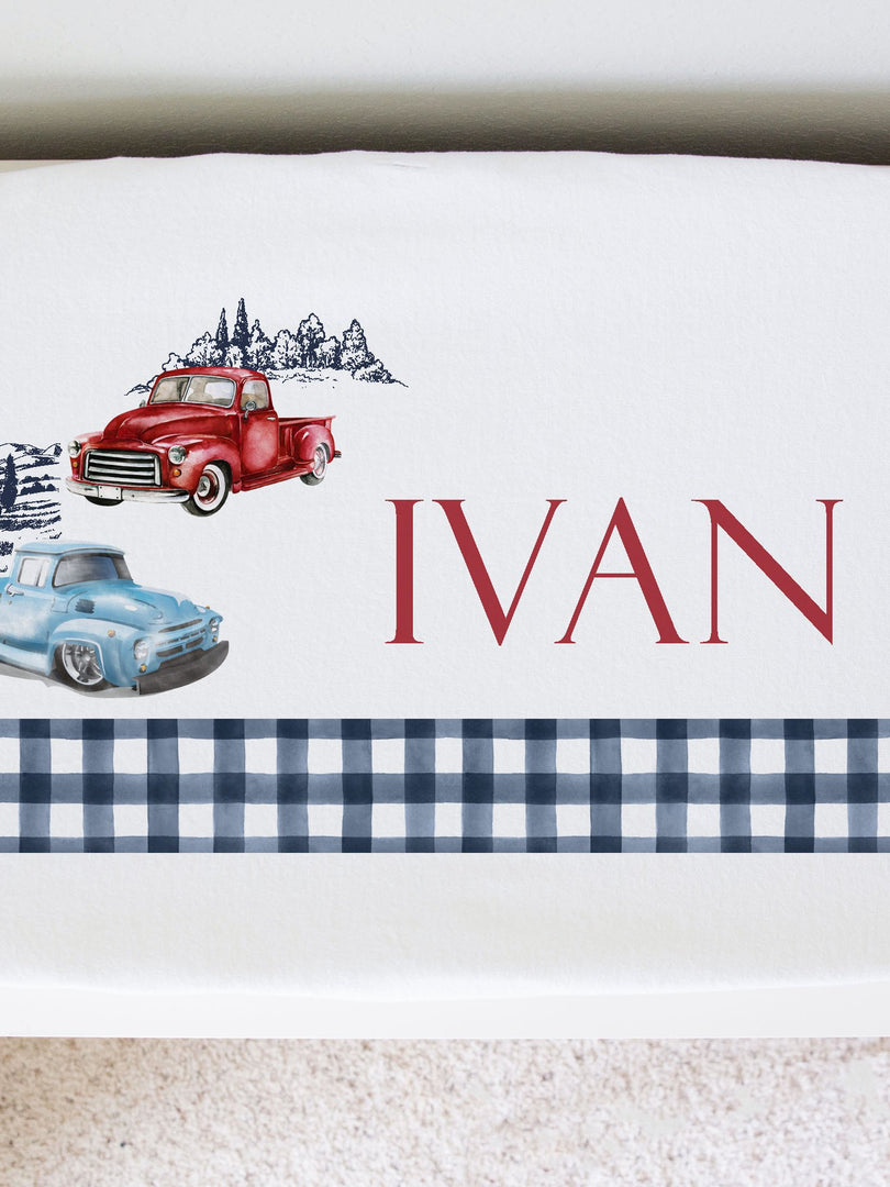antique trucks personalized baby changing pad cover