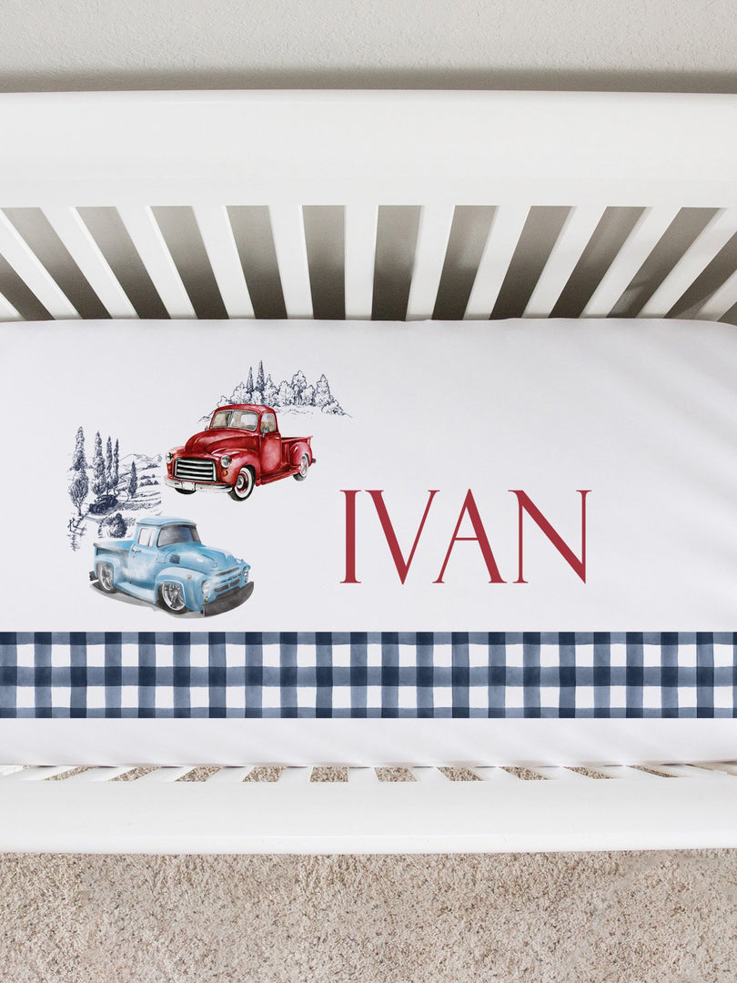 antique trucks personalized crib sheet