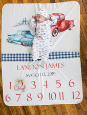 milestone blanket for baby with trucks