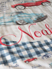vintage truck minky blanket for boy