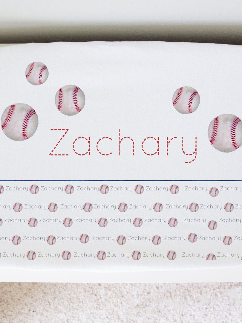 personalized changing pad cover for baseball nursery