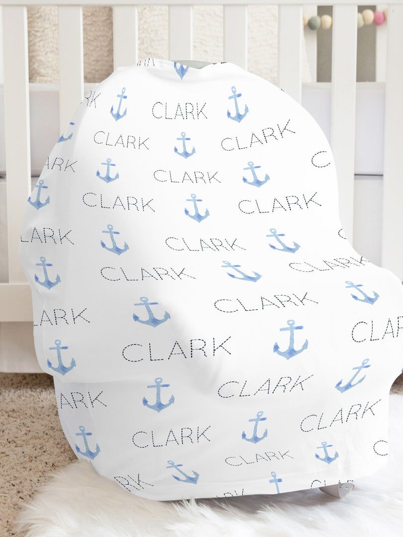 Blue Pastel Anchors Car Seat Cover