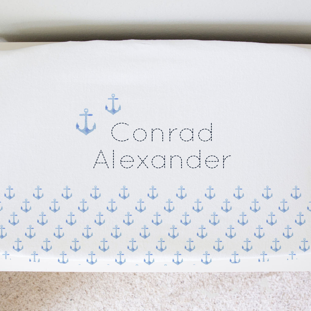 nautical nursery personalized changing pad cover. blue pastel anchors changing pad cover. minky changing pad cover