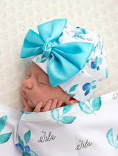 blueberry print baby girl hat with bow
