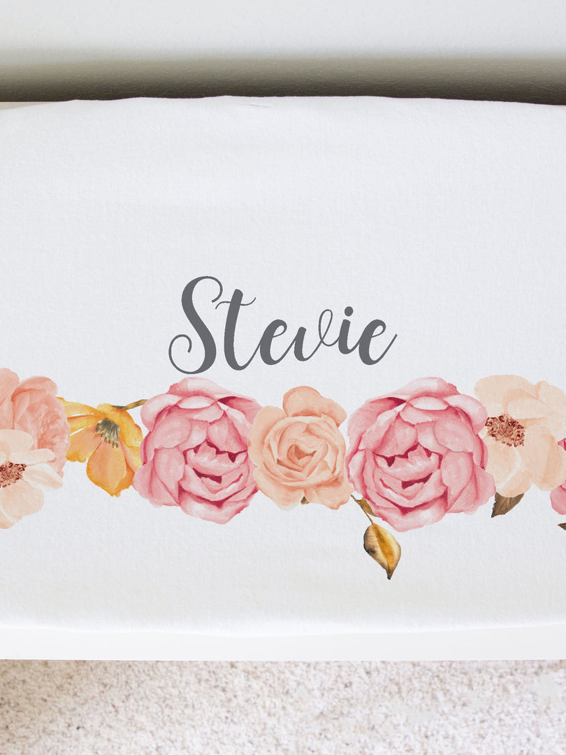 blush peony personalized changing pad cover. Pink and gold baby girl nursery