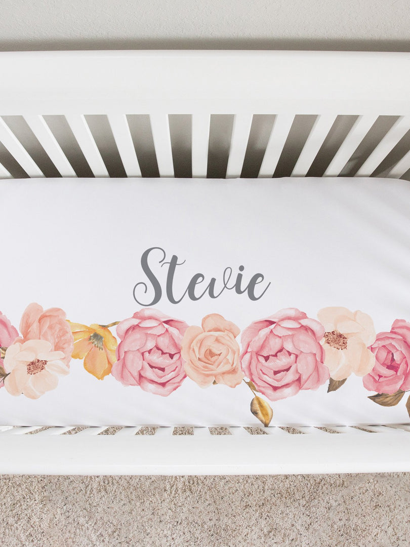 blush peony personalized baby crib sheet. baby girl floral nursery bedding