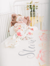 personalized baby girl crib sheet with peonies