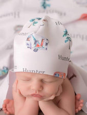infant hat with campers and name