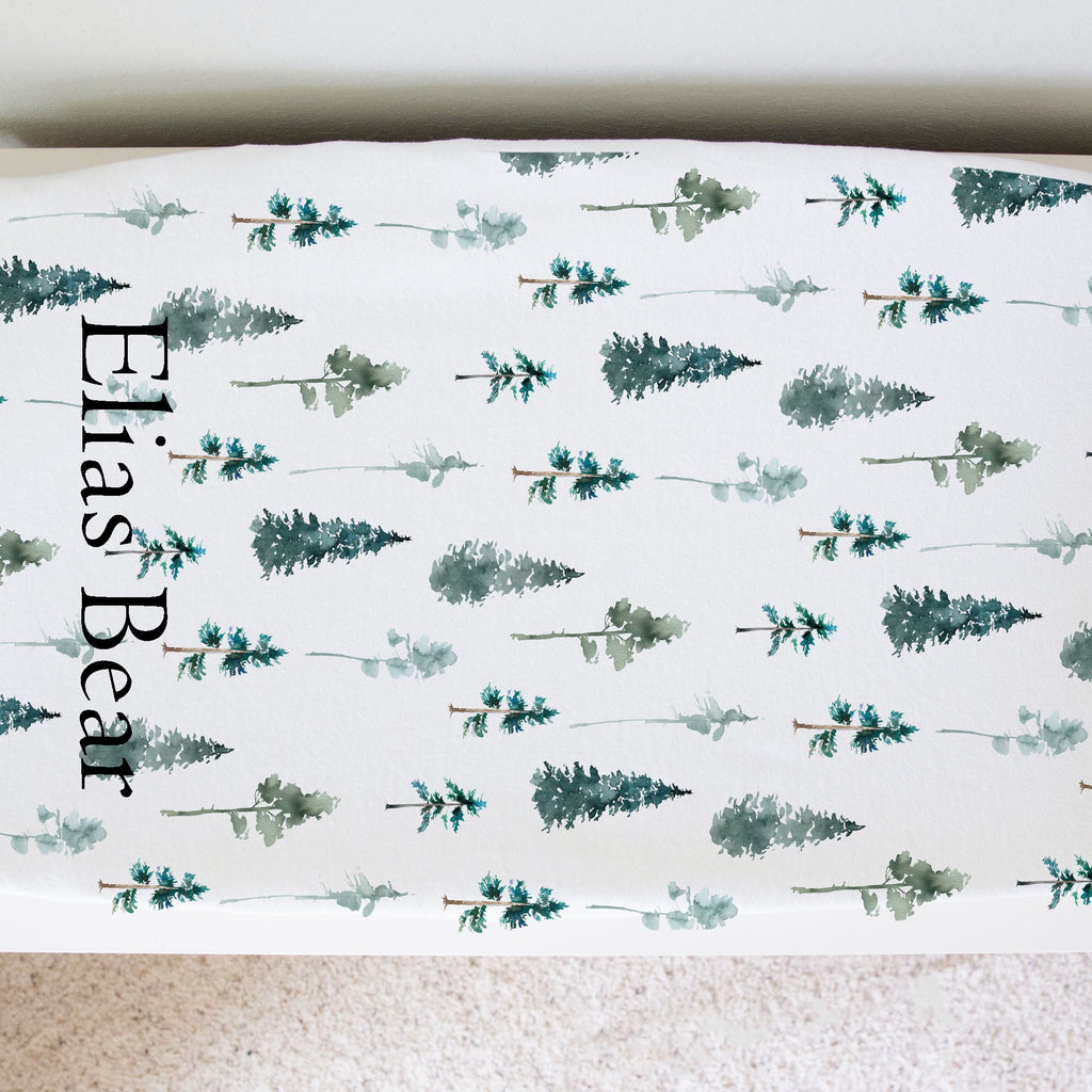 bryce canyon pine tree personalized changing pad cover. Mountain adventure nursery
