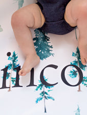 Woodland Nursery pine tree fitted crib sheet with baby's name
