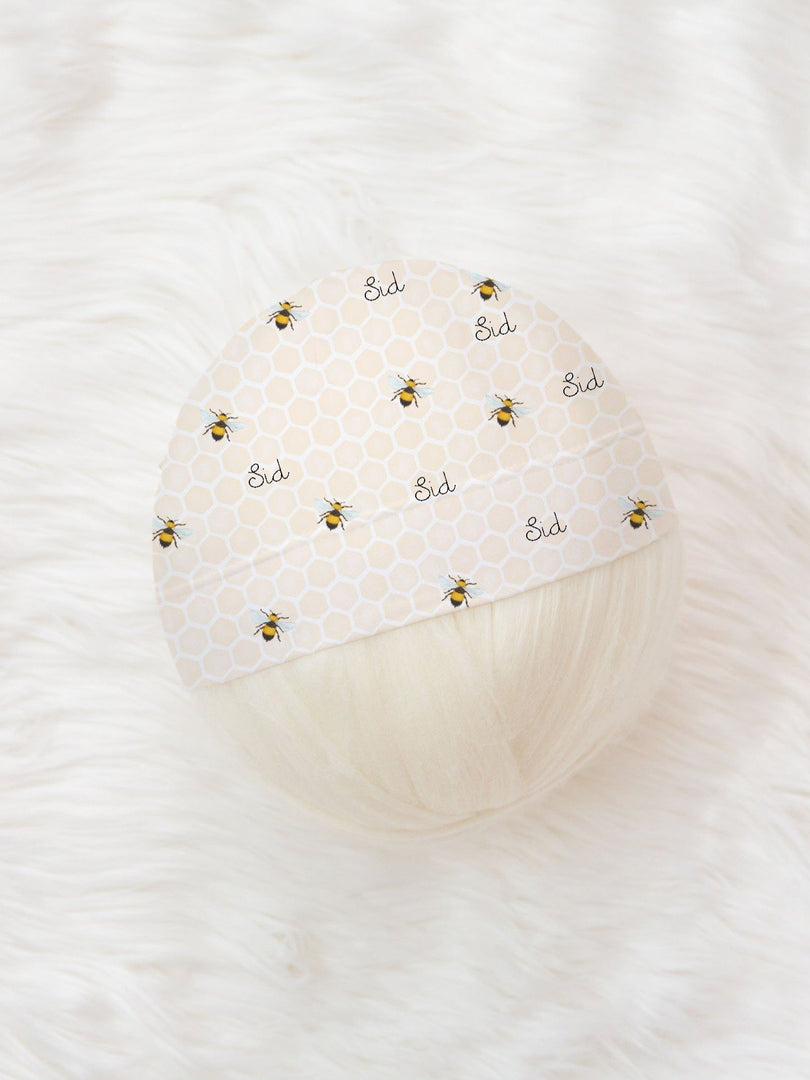 personalized baby hat with bumblebee print