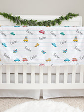 cars and things that go minky personalized baby blanket, stroller blanket for baby boy, car baby blanket, vehicle minky