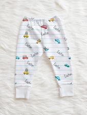 personalized baby boy pants with cars, birthday gift for boy