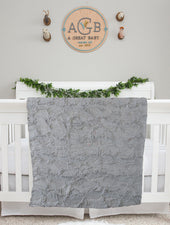 gray minky fur baby blanket