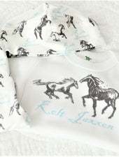 baby boy take home outfit with horses