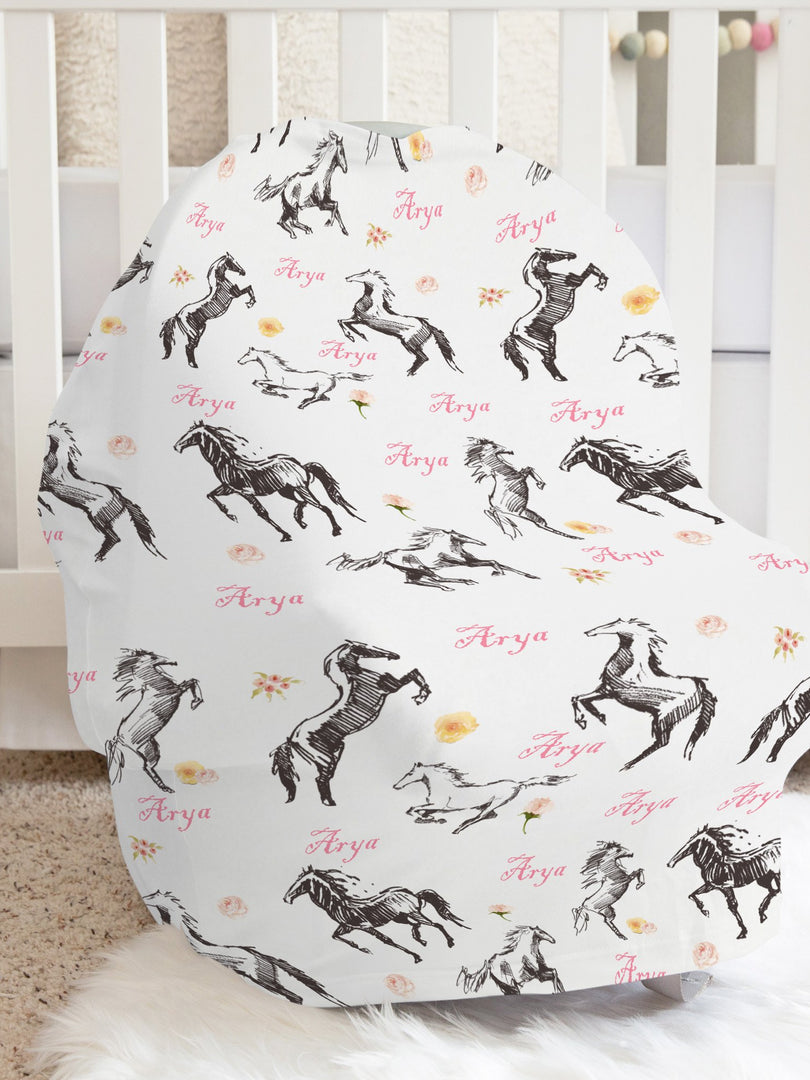 Christina's Wild Horses Personalized Car Seat Cover, Cowgirl Baby Carseat Cover