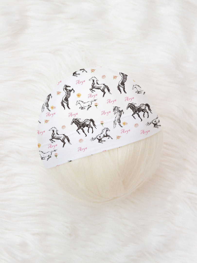 wild horses girl personalized baby hat or headband