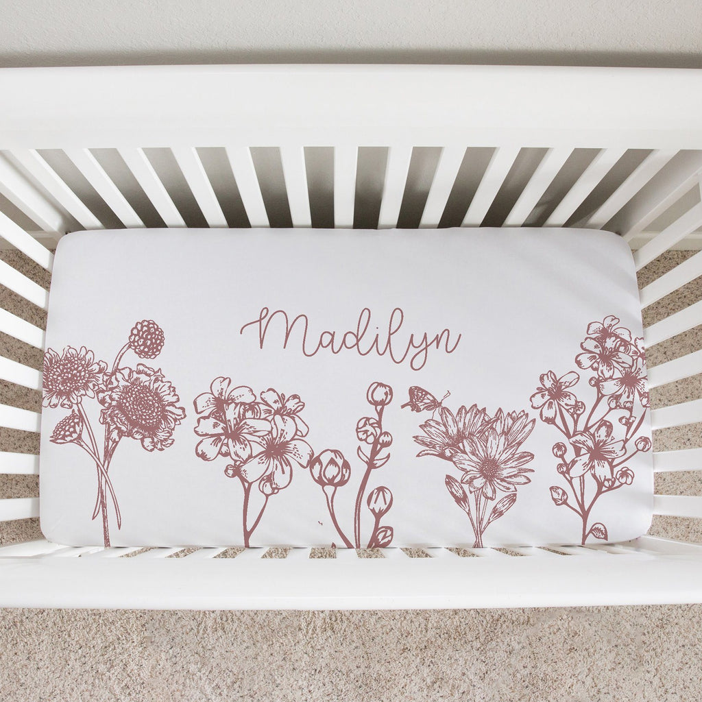 Colleen Floral Mauve Crib Sheet