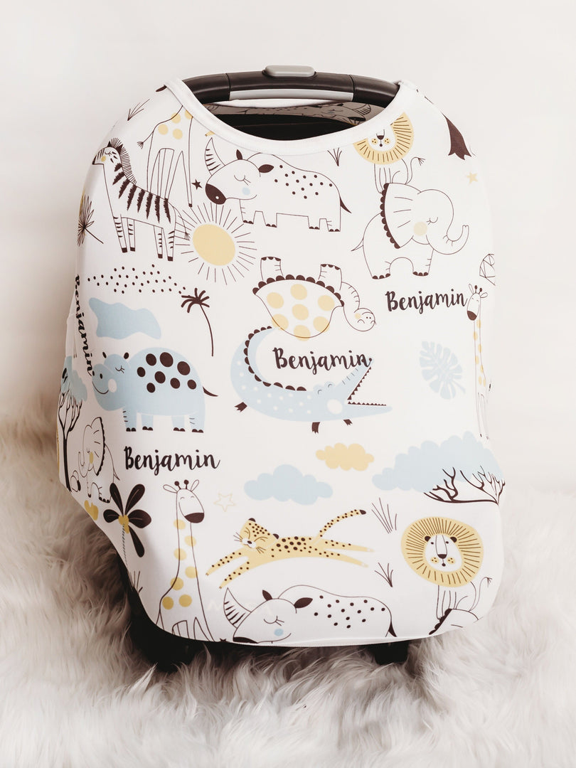 baby boy personalized car seat cover jungle animal print