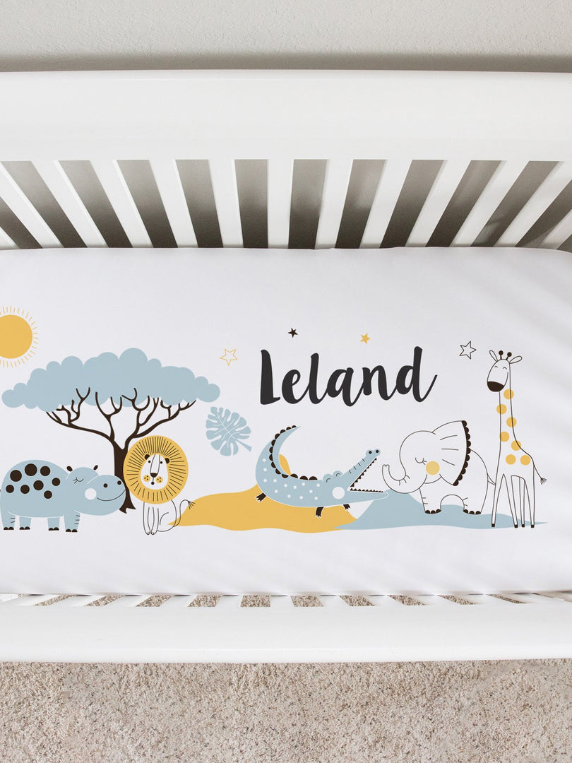 colorful jungle animals baby boy crib sheet personalized