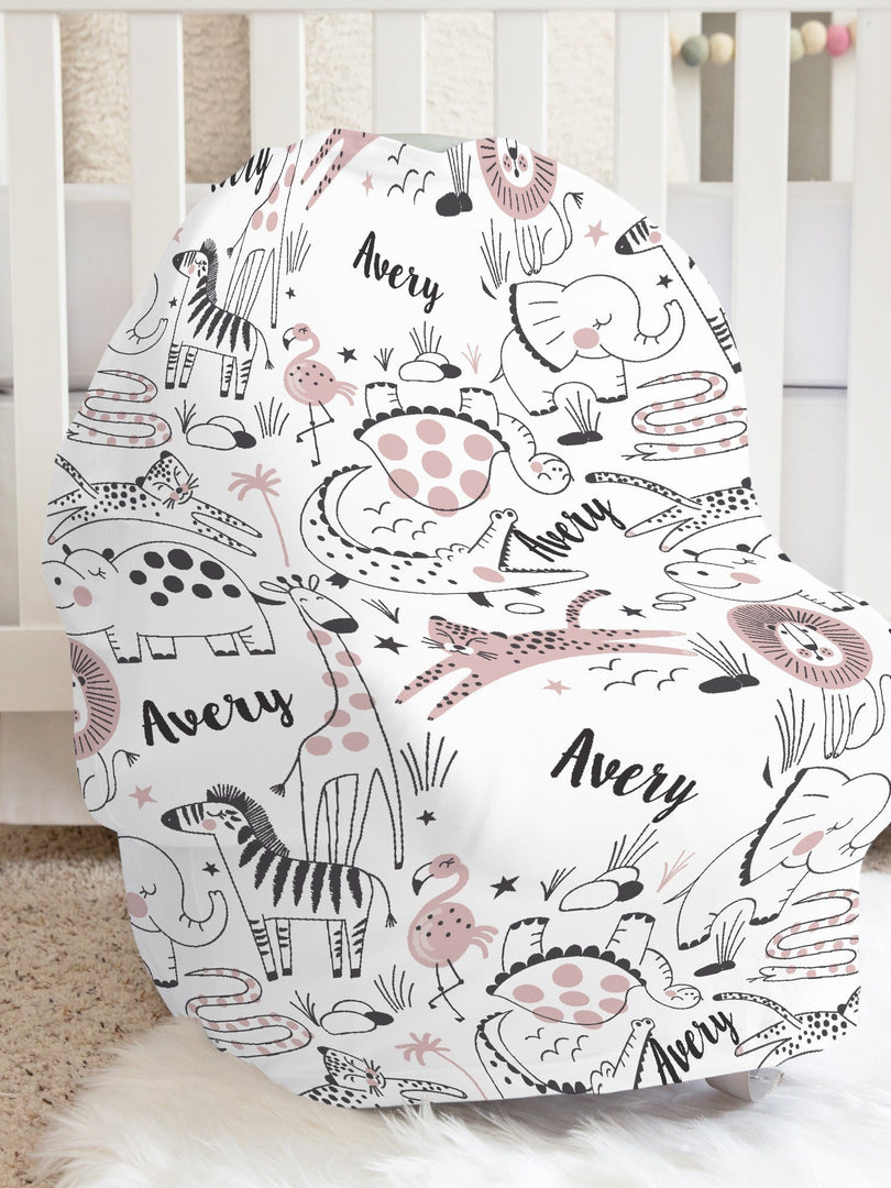 modern jungle print car seat cover for baby girl