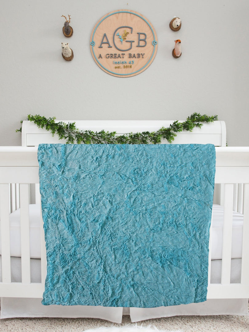 blue minky fur baby blanket