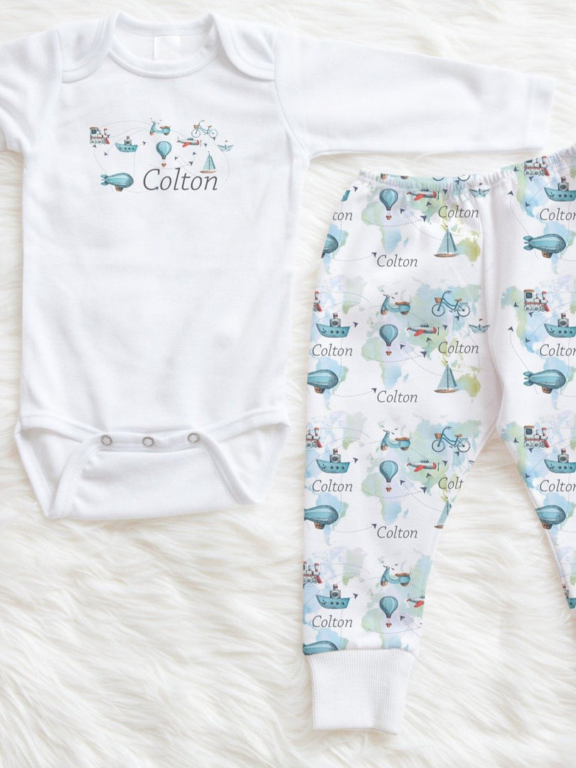 travel theme baby boy outfit, personalized baby clothes for boys