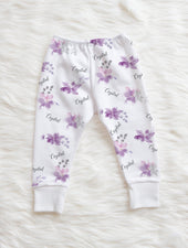crystal jean lavender personalized leggings for baby girl