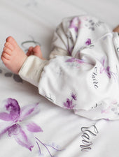 lavender floral personalized leggings for baby